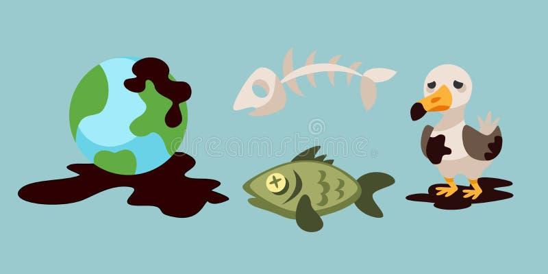 生态水地球空气动物的砍伐森林破坏的问题环境油污染碾碎工厂.