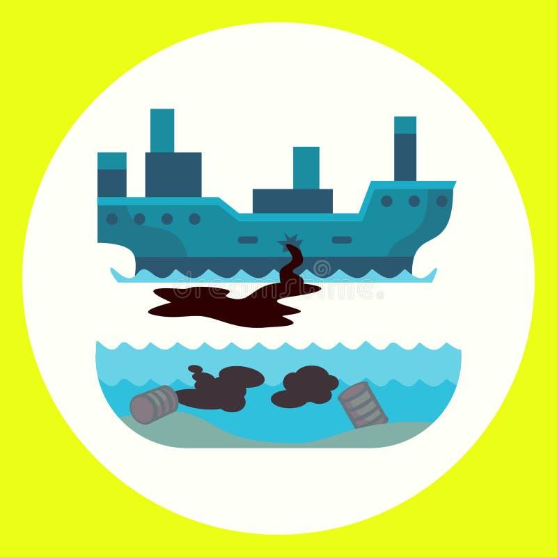 生态水地球空气动物的砍伐森林破坏的问题环境油污染碾碎工厂 库存例证