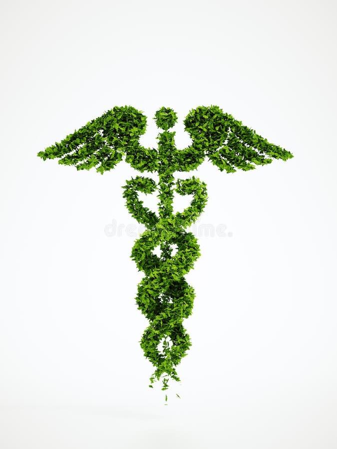 生态医疗标志有白色背景 库存例证