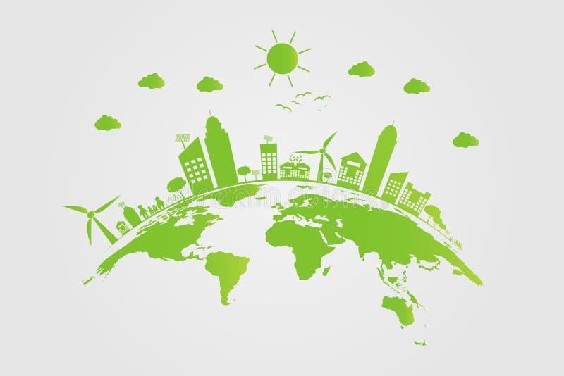 生态 绿色城市帮助世界有环境友好的概念想法 也corel凹道例证向量 皇族释放例证
