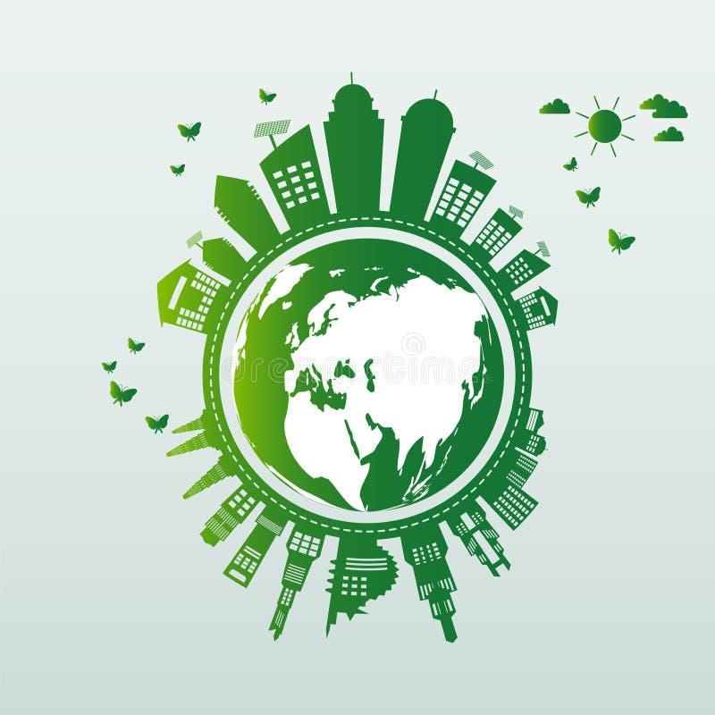 生态 绿色城市帮助世界有环境友好的概念想法 也corel凹道例证向量 库存例证