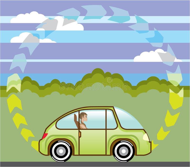 生态绿色汽车自驾驶的遵守的限速 向量例证