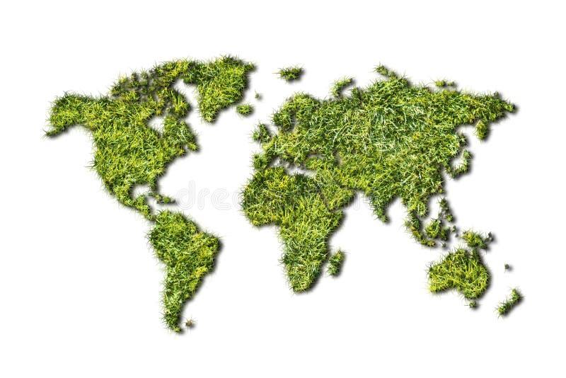 生态从草的世界地图在白色背景 库存例证