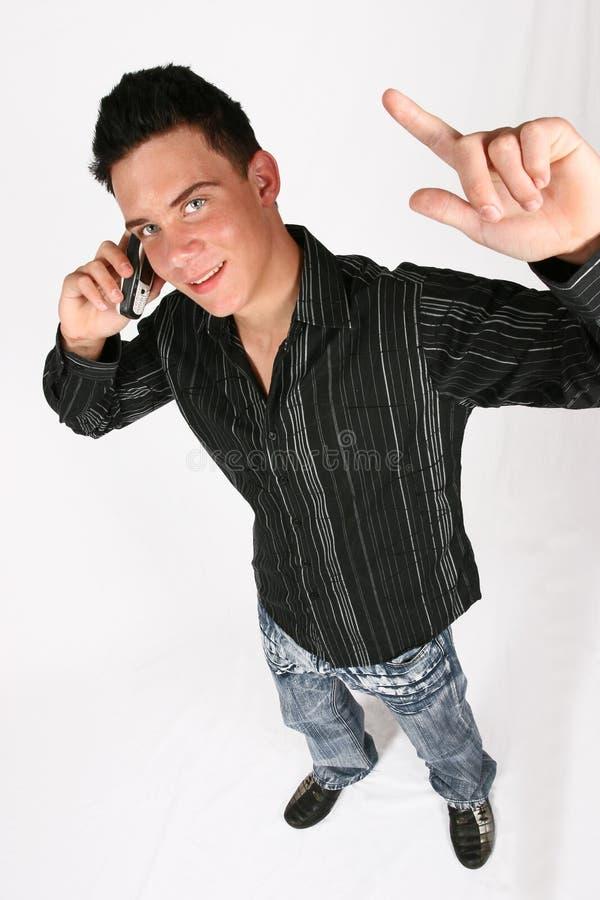 生意人他的电话 图库摄影
