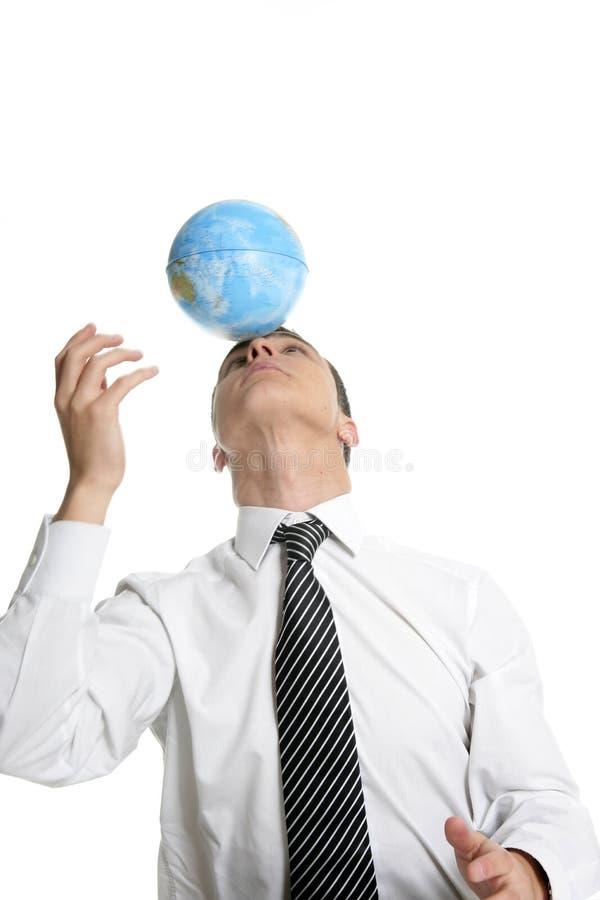 生意人全球映射作用范围 免版税库存图片