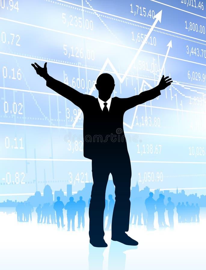 生意人兴奋图形地平线 向量例证