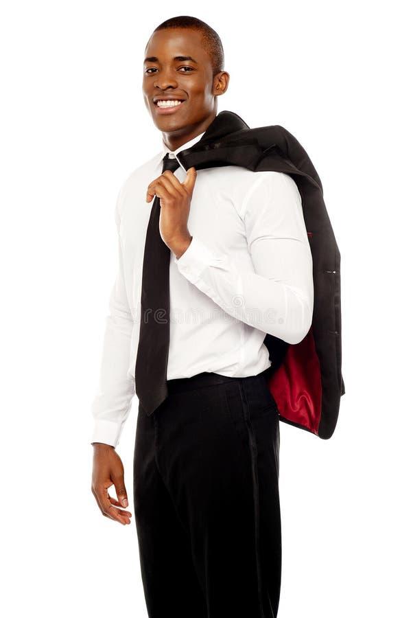 生意人在他的肩膀的藏品外套 库存图片