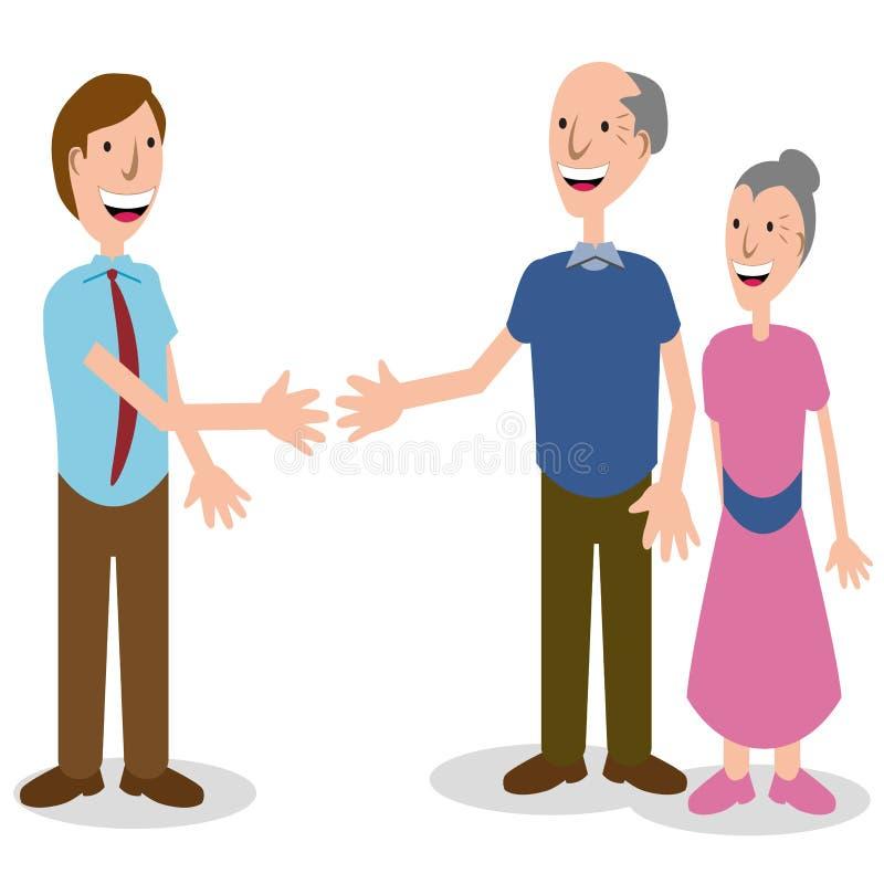 生意人夫妇问候前辈 向量例证