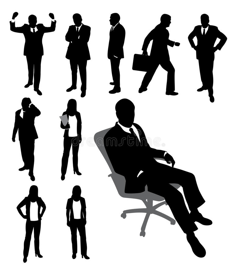 生意人女实业家剪影 向量例证