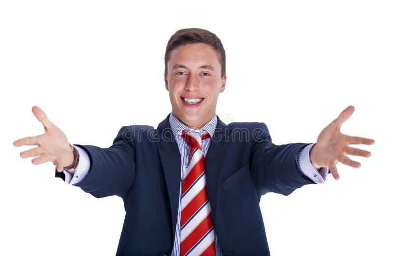 生意人微笑欢迎 免版税库存图片