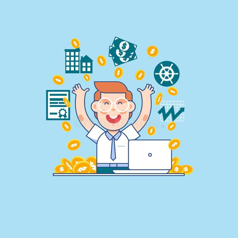 生意人成功的年轻人 得到很多金钱的愉快的经理或商人 企业概念动画片例证 库存例证
