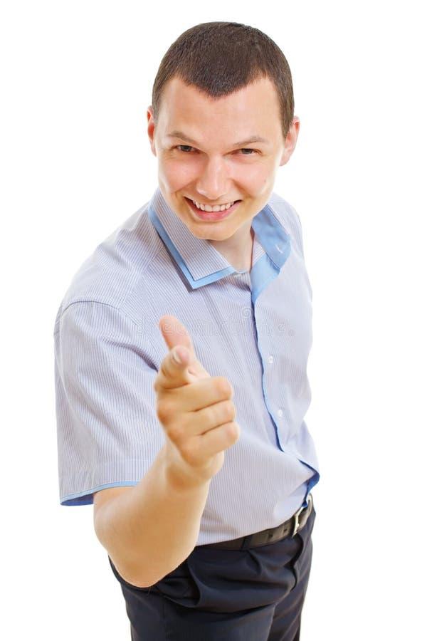生意人手指他指向的年轻人 图库摄影