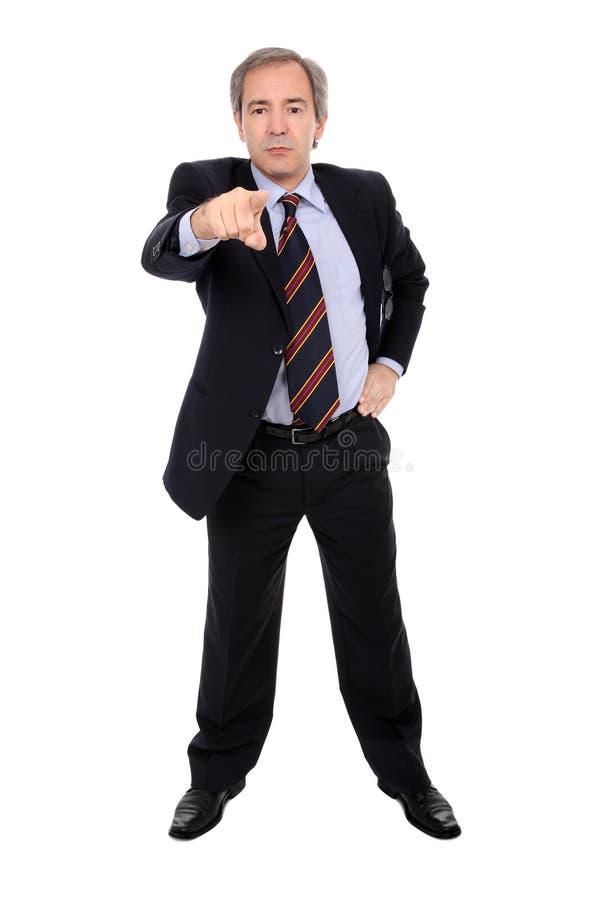 生意人手指他指向 免版税库存图片