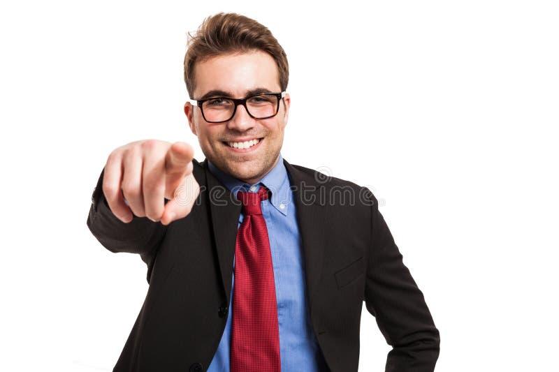 生意人手指指向您的他的 免版税库存照片