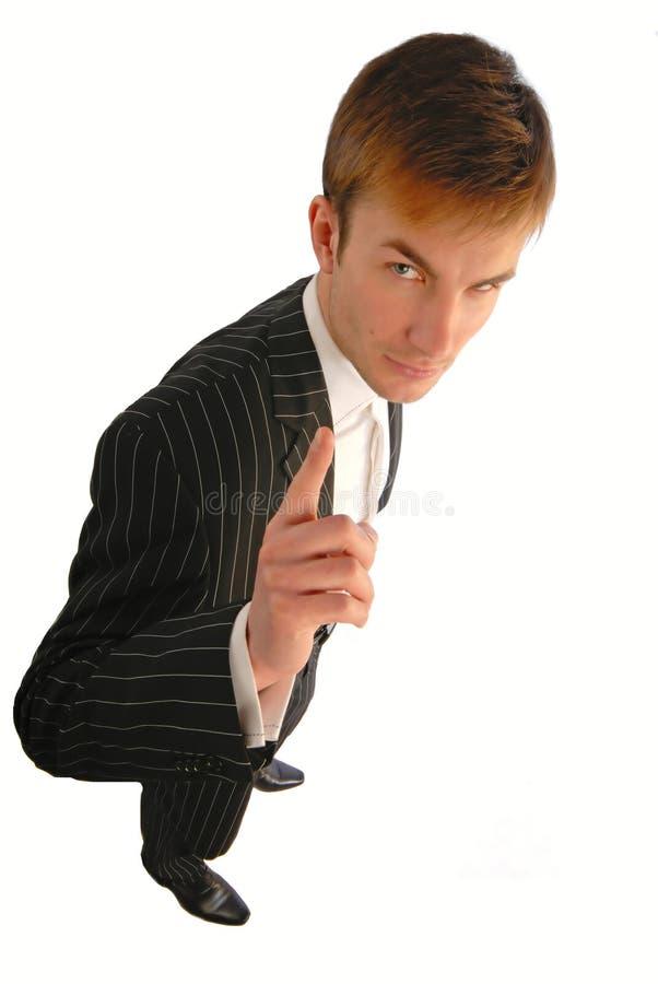 生意人手指指定 免版税库存照片