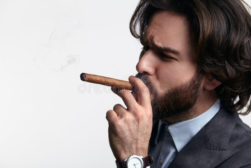 生意人抽烟的雪茄 免版税库存照片