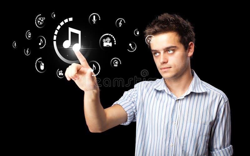 生意人按按类型的媒体虚拟 库存图片