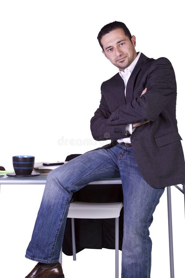 生意人服务台他的开会 图库摄影