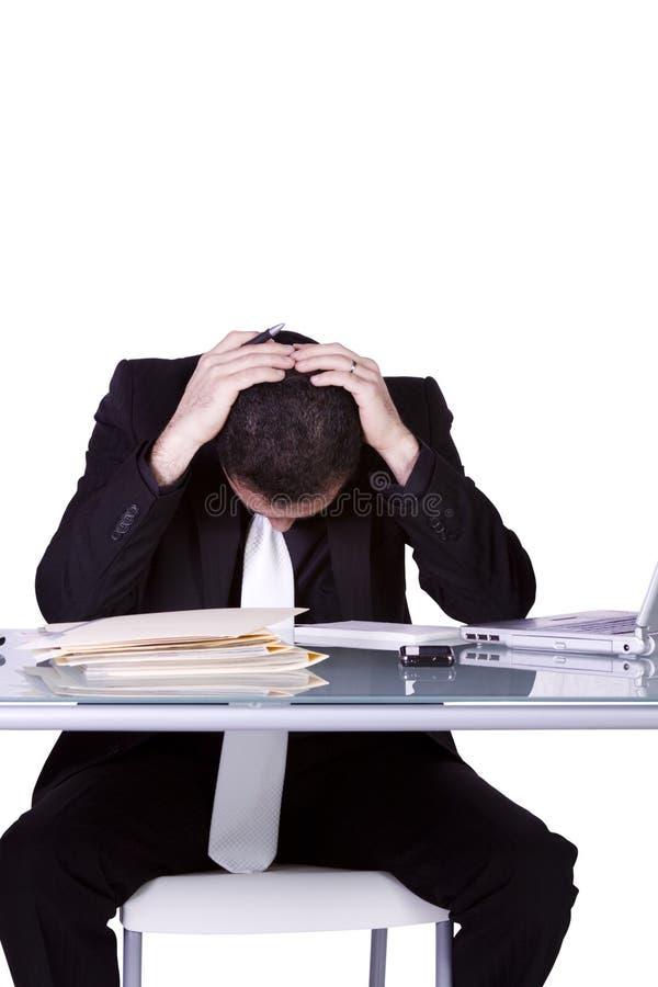 生意人服务台失败他的工作 免版税库存照片