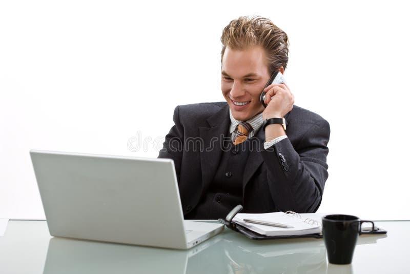 生意人服务台工作 图库摄影
