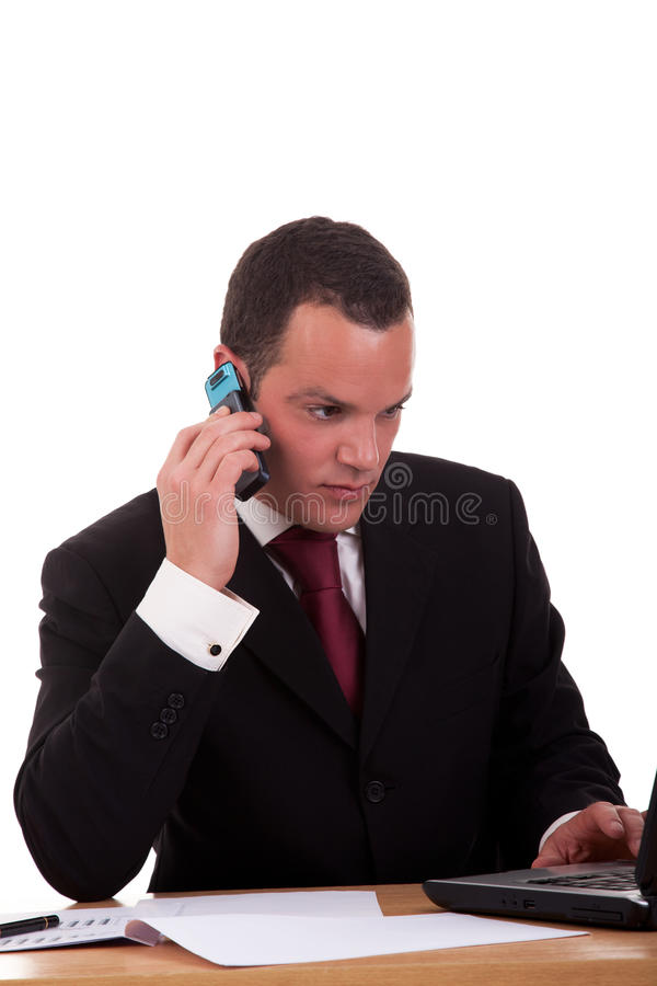 生意人服务台电话设置联系 库存照片