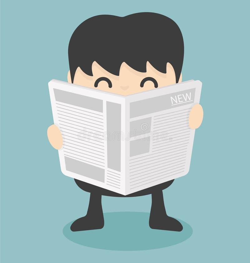 生意人查出的报纸读取白色 皇族释放例证