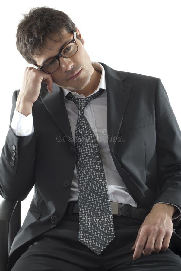 生意人沮丧疲乏 库存照片