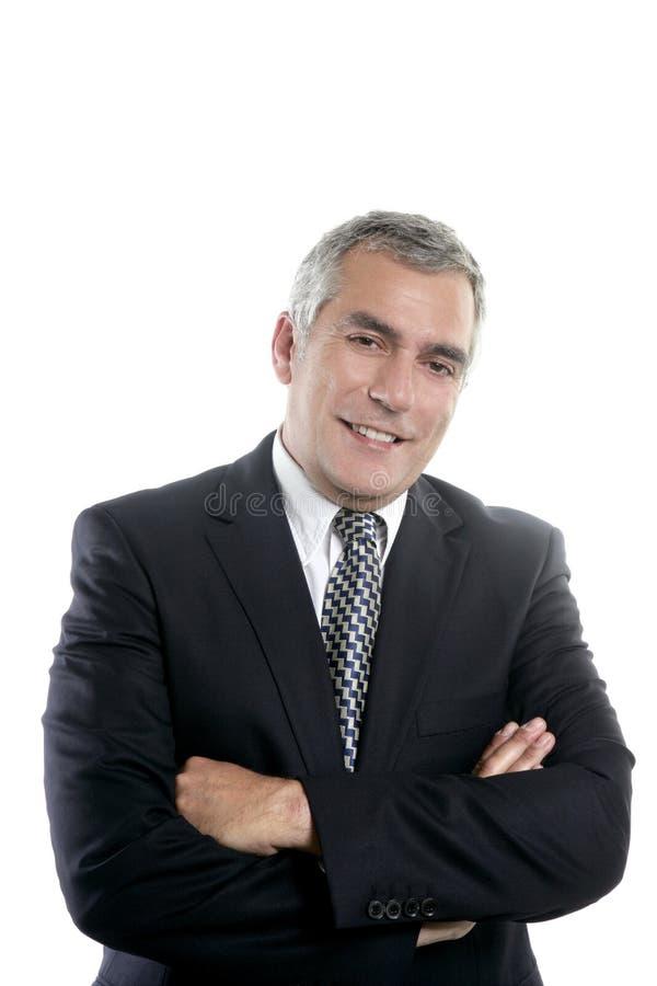 生意人灰色头发愉快高级微笑 免版税库存照片