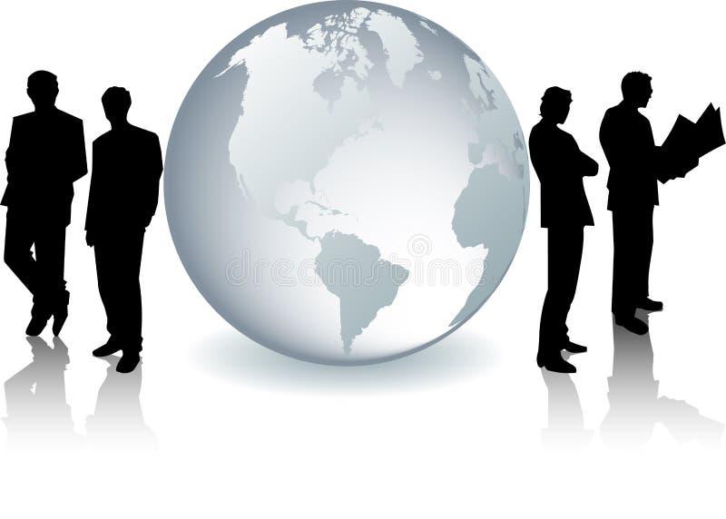 生意人玻璃地球剪影 向量例证