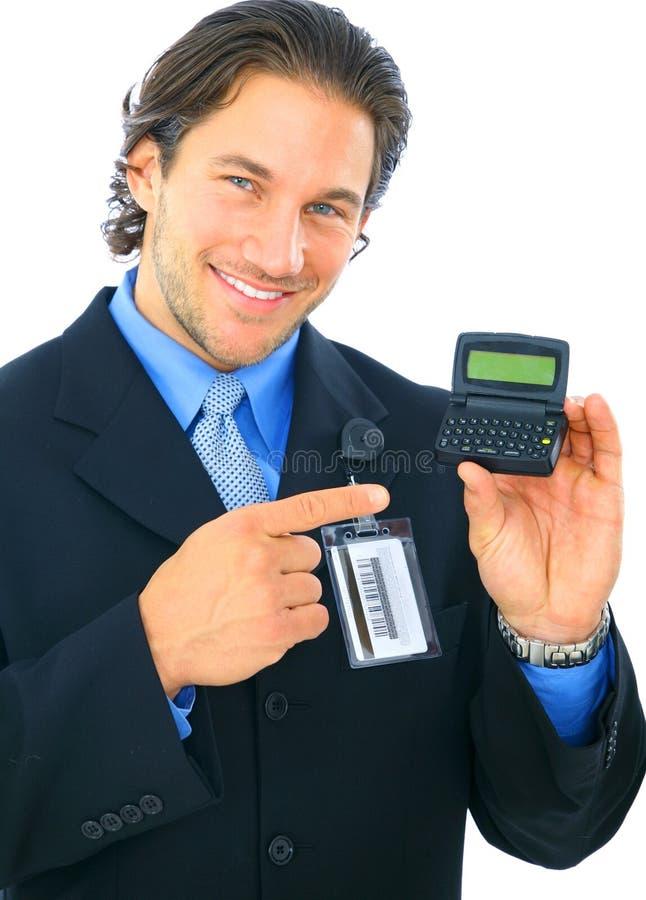 生意人电子空传机指向 免版税库存照片