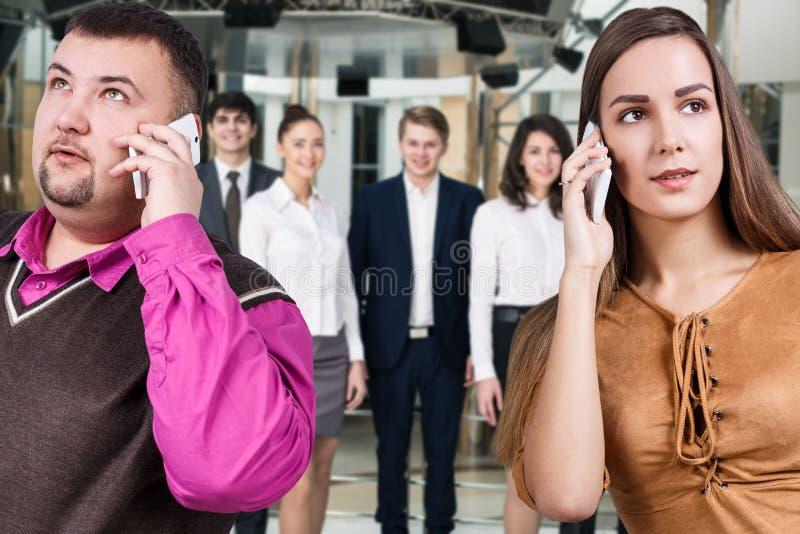 生意人电话告诉 库存图片