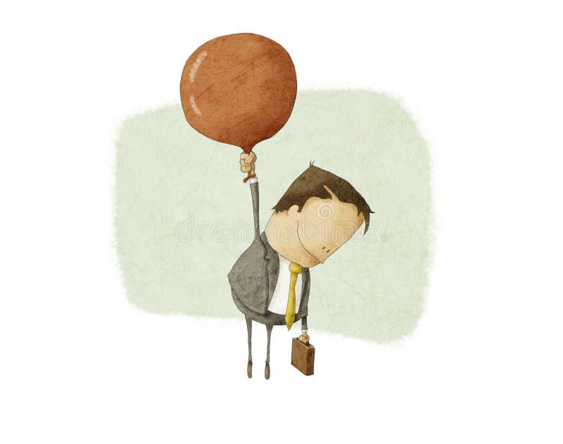 生意人登高与一个红色气球 库存例证