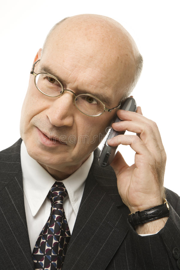 生意人白种人移动电话 库存照片