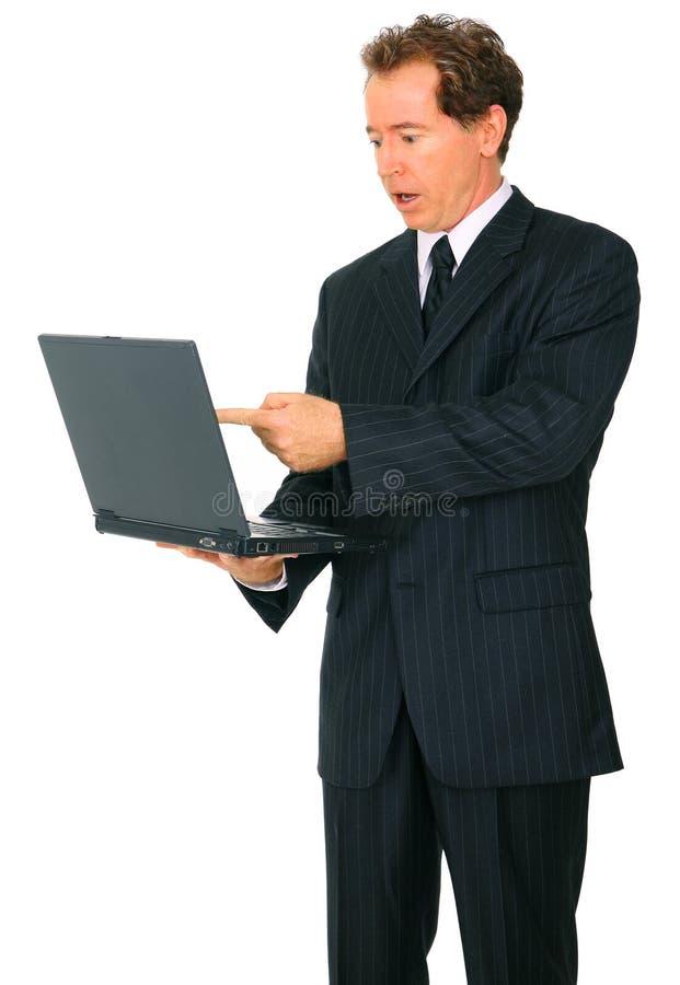 生意人白种人膝上型计算机点前辈 免版税库存照片
