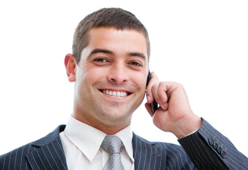 生意人确信的电话纵向 库存照片