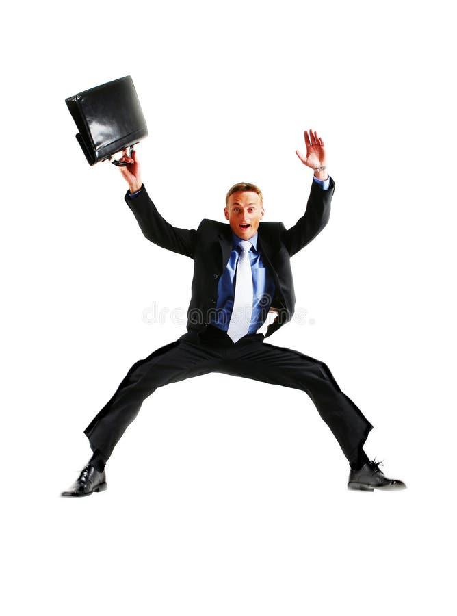 生意人精力充沛愉快跳非常 免版税图库摄影