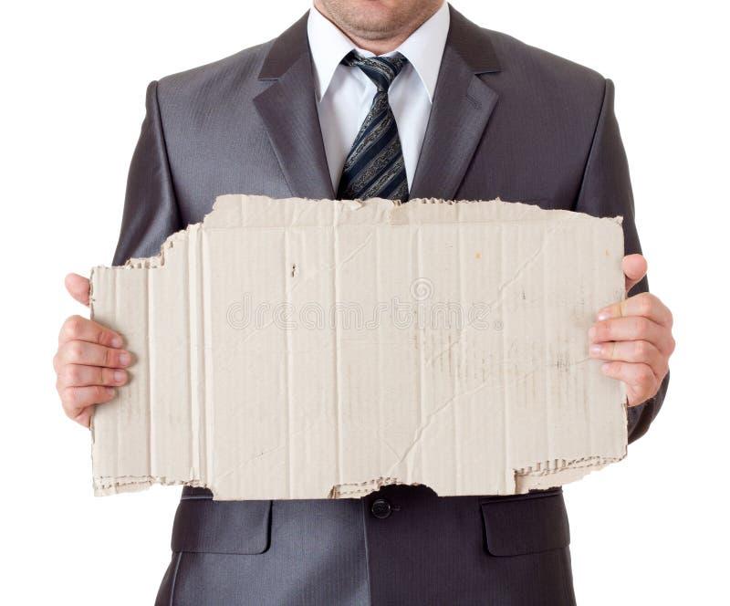 生意人纸板框架 库存照片