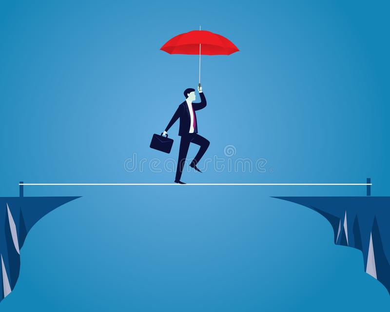 生意人绳索走 在企业概念的风险挑战 向量例证