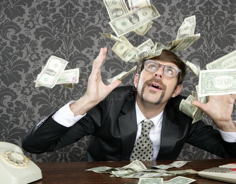 生意人美元飞行书呆子减速火箭附注&# 免版税库存图片