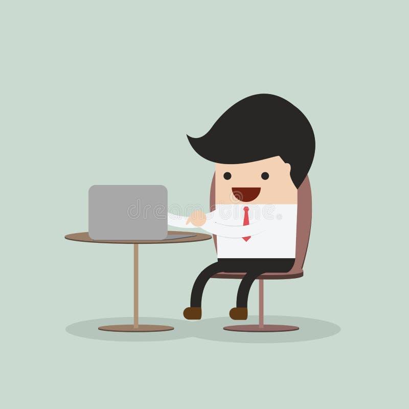 生意人膝上型计算机工作 向量例证