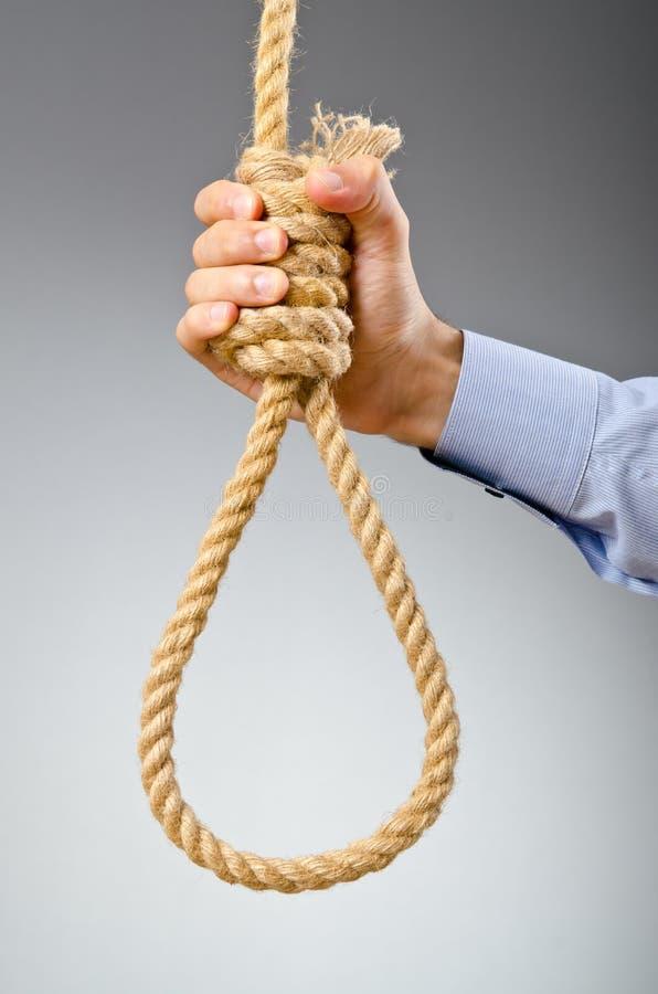 生意人自杀想法 免版税库存图片