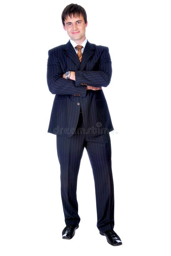 生意人英俊常设平直  免版税图库摄影