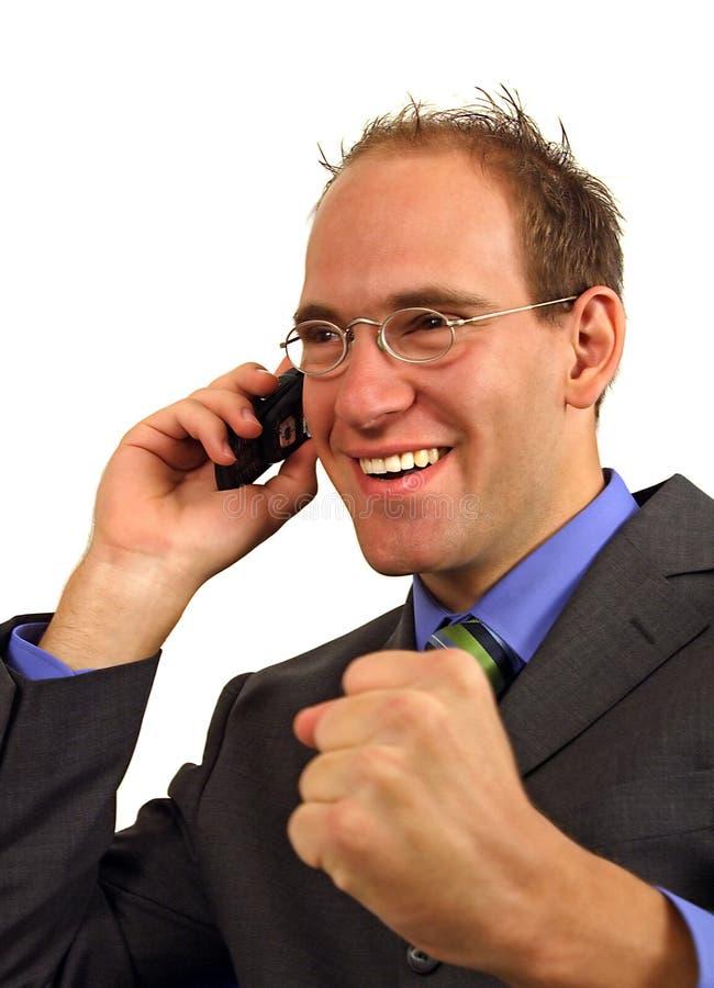 生意人获得好消息 免版税库存照片