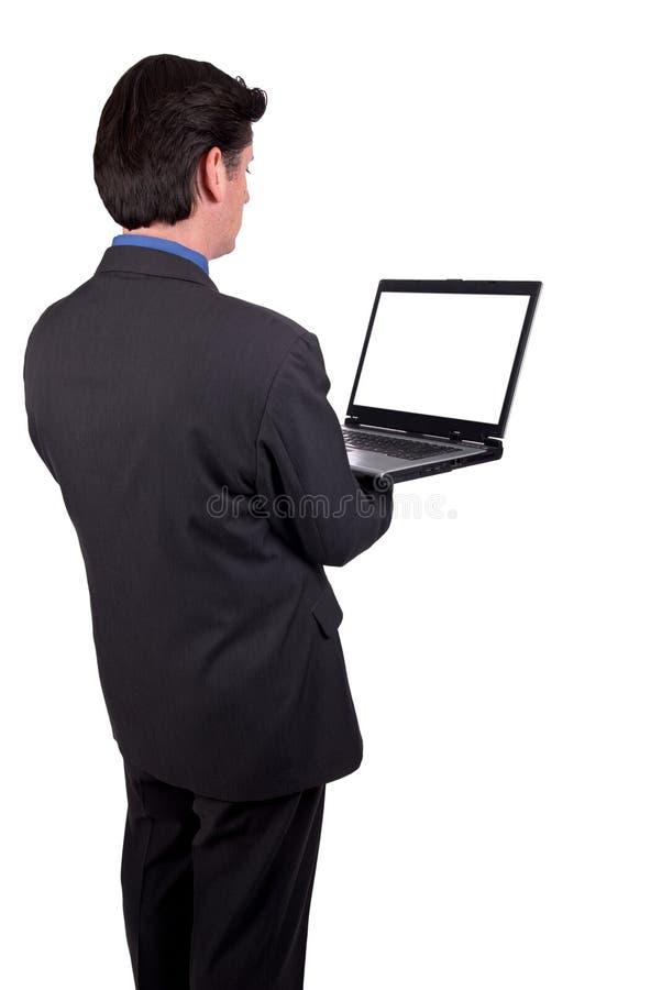 生意人藏品膝上型计算机 库存图片