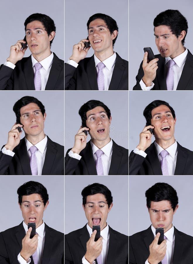 生意人蜂窝电话表达式联系 免版税库存照片
