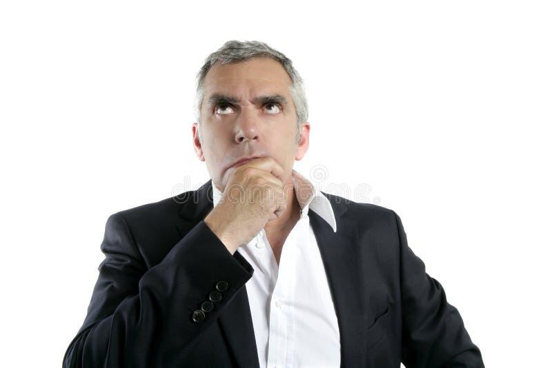 生意人表面灰色头发现有量高级认为 免版税库存照片