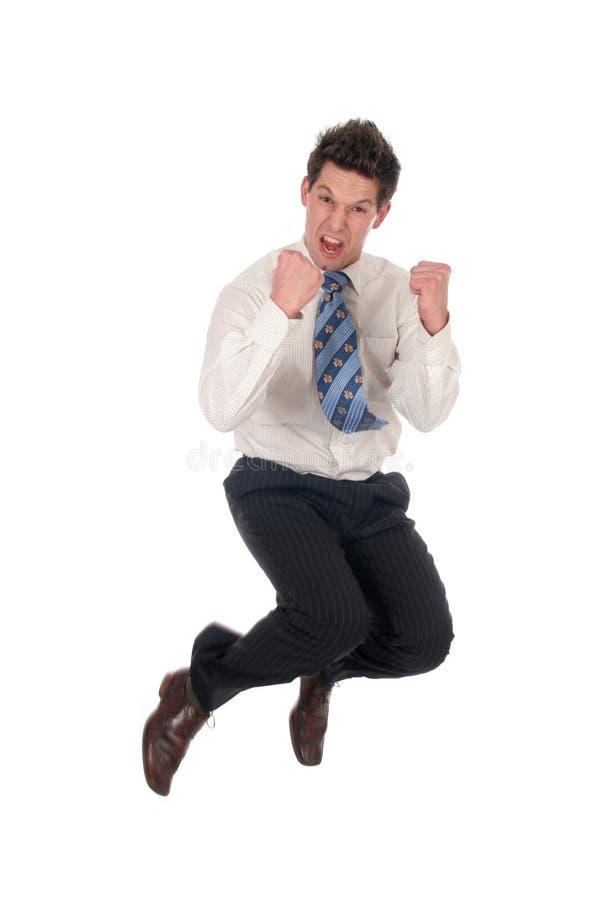 生意人跳 免版税图库摄影