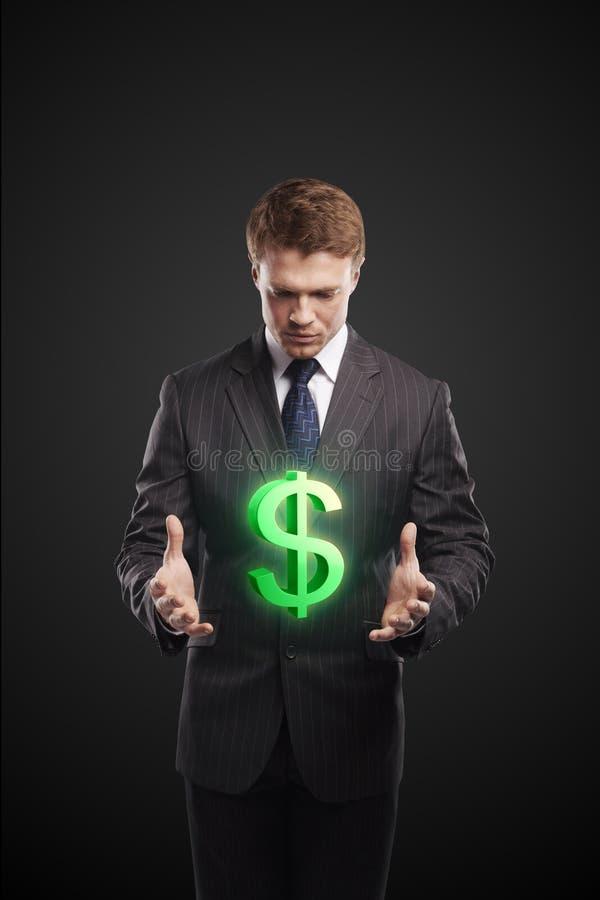 生意人选择绿色的美元签署我们新 库存照片