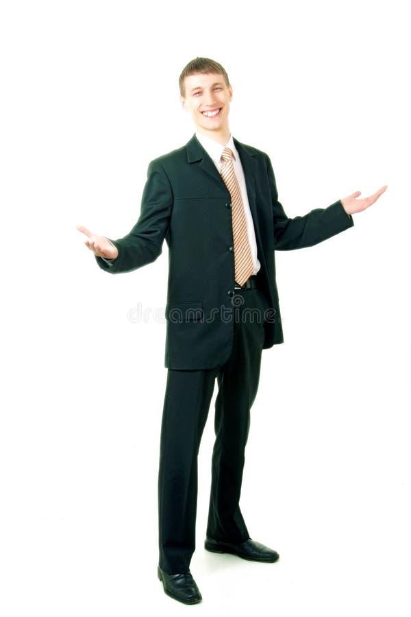 生意人问候微笑的年轻人 库存图片