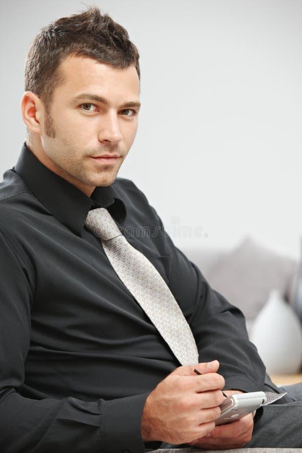 生意人palmtop使用 库存照片